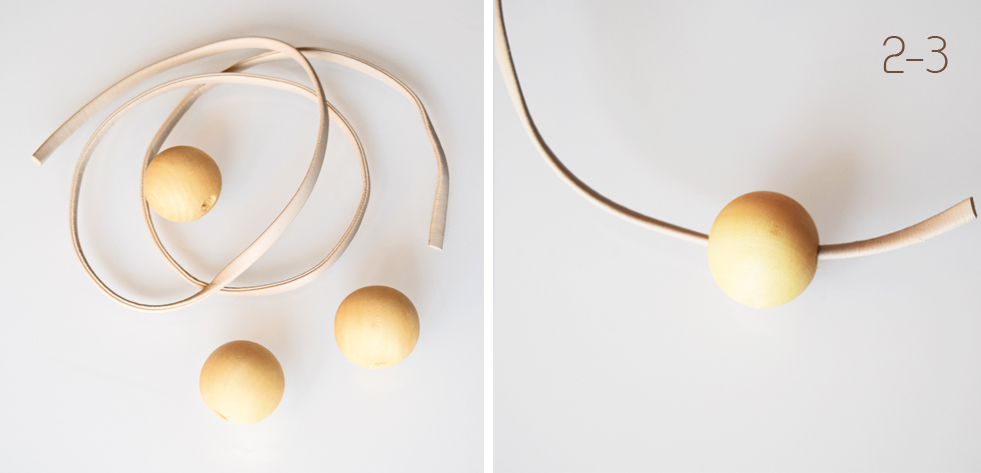Fabrication du hochet de perles de bois.