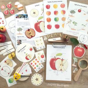 Pack de matériel Montessori sur le thème de la pomme